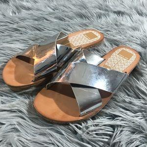 Dolce Vita Silver Slide Flip Flops size 8.5
